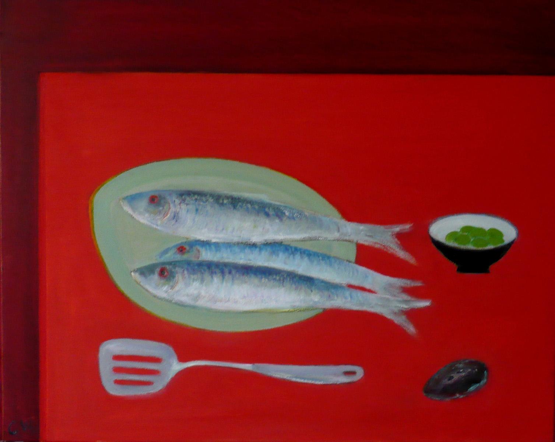 Still Life Fish on Red