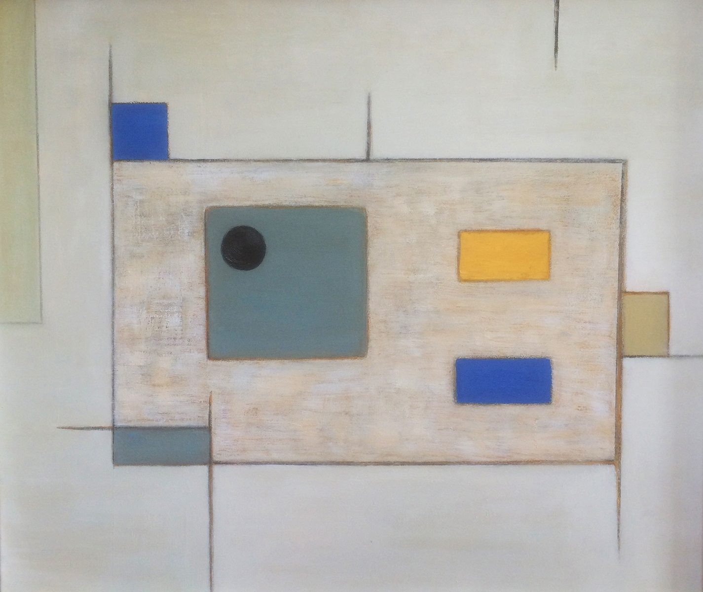 Abstract with Grey, Blue & Yellow by Colin Williams