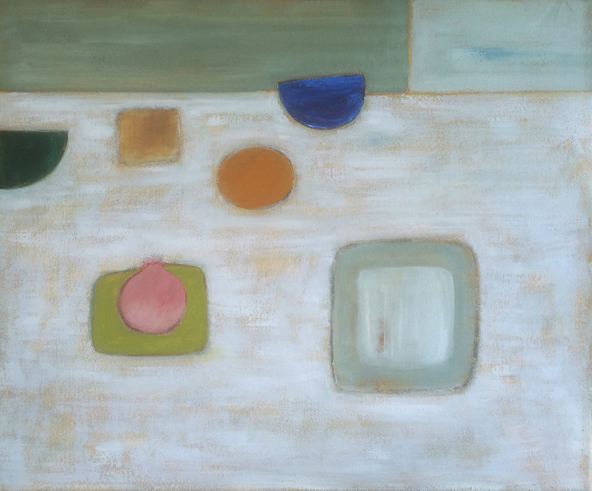 Abstract with Pink on Green by Colin Williams