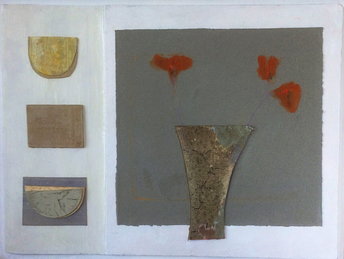 Relief painting with vase by Colin Williams